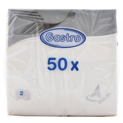 Obrúsky 2-vrstvové biele, 33cm x 33cm. 50ks