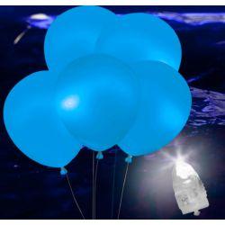 Svietiace Led balóny modré 5ks