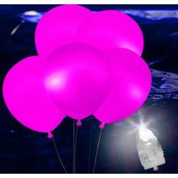Svietiace Led balóny ružové 5ks