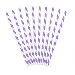 Slamky fialovo-biele , 10ks , 19,5cm