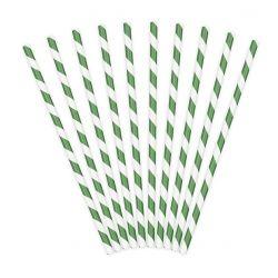 Papierové slamky zeleno-biele 10 ks, 19,5cm
