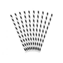 Papierové slamky čierno-biele 10 ks, 19,5cm