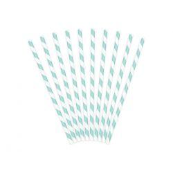 Papierové slamky bledotyrkysovo-biele 10 ks, 19,5cm
