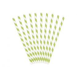 Papierové slamky bledozeleno-biele 10ks, 19,5cm