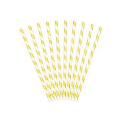 Papierové slamky žlto-biele 10ks, 19,5cm