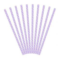 Paper straws dotted violet-white 10pcs, 19,5cm