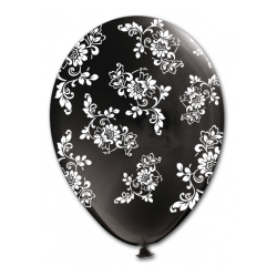 Biely balón s čiernymi kvetmi