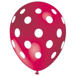 Tmavo ružový bbalón s veľkými bielymi guličkami