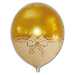 Zlatý balón v priehľadnom balóne s potlačou