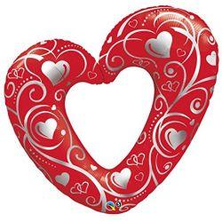 Qualatex fóliový balón srdce so striebornou potlačou