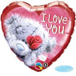 Qualatex fóliový balón srdce s medvedíkom