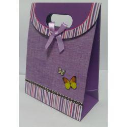 Darčeková taštička fialová s motýlikmi
