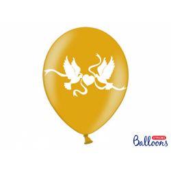 Metalický balón zlatý s bielymi holubicami a srdcom 30 cm