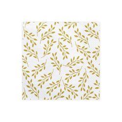 Obrúsky troj-vrstvové, 33 x 33 cm, biele so zlatými listami