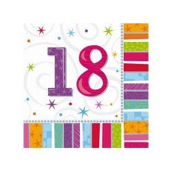 Obrúsky 18. narodeniny, troj-vrstvové, 33 x 33 cm