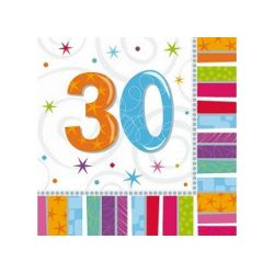 Obrúsky 30. narodeniny, troj-vrstvové, 33 x 33 cm
