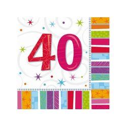 Obrúsky 40. narodeniny, troj-vrstvové, 33 x 33 cm