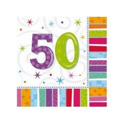 Obrúsky 50. narodeniny, troj-vrstvové, 33 x 33 cm