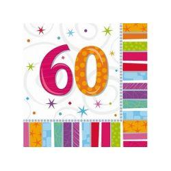 Obrúsky 60. narodeniny, troj-vrstvové, 33 x 33 cm