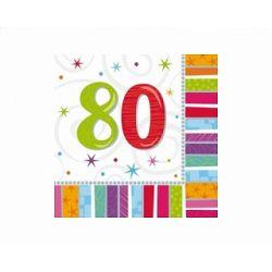 Obrúsky 80. narodeniny, troj-vrstvové, 33 x 33 cm