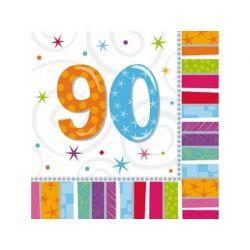 Obrúsky 90. narodeniny, troj-vrstvové, 33 x 33 cm