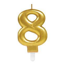 Tortová sviečka č.8 zlatá