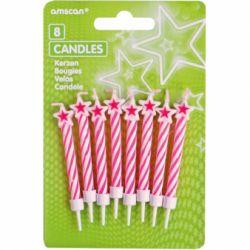 Tortové sviečky s ružovými pásikmi a hviezdičkami