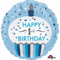 Fóliový balón muffin 1st birthday chlapec