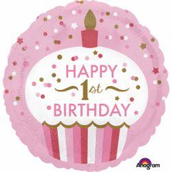 Fóliový balón muffin 1st birthday dievča
