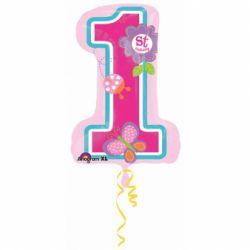 Fóliový balón 1st birthday dievča 48x71cm