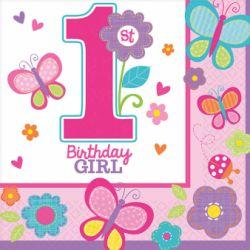 Servítky 1st birthday dievča 16ks