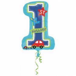 Fóliový balón 1st birthday chlapec 48x71cm