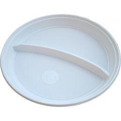 Tanier delený na 2 porcie biely 22cm (PP) 100ks