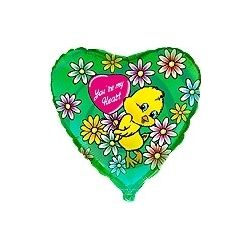 Balón Kačiatko - zelené s kvetmi