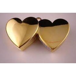 Ťažítko na balóny dvojité srdcia zlaté