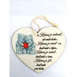 """Drevená tabuľka srdce """" Macíkovia"""""""