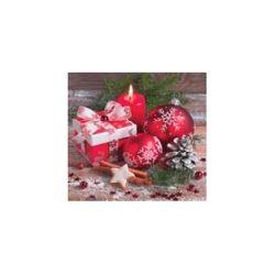 Vianočné servítky červené gule a darček, 3-vrstvé, 33 x 33 cm [20 ks]