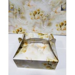 Krabica na zákusky - svadobný motív 20x20x9cm , 1ks