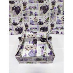 Krabica na zákusky - Levanduľa 20x20x9cm , 1ks