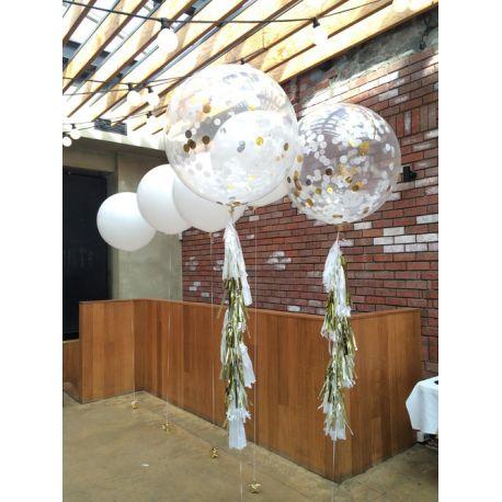 Plnený balón s konfetami - strieborné kruhy