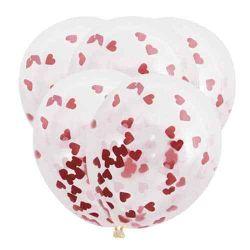 Konfety do balónov - červené srdiečka