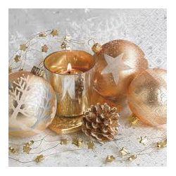 Vianočné servítky zlaté gule, 3-vrstvé, 33 x 33 cm [20 ks]