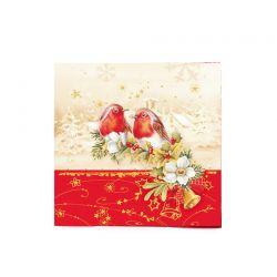 Vianočné servítky vtáčiky, 3-vrstvé, 33 x 33 cm [20 ks]