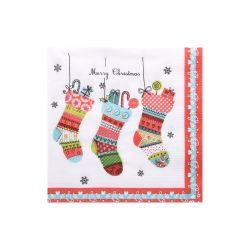 Vianočné servítky ponožky, 3-vrstvé, 33 x 33 cm [20 ks]
