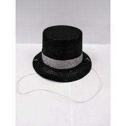 Párty klobúk na gumičke - čierny