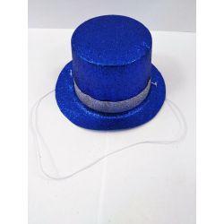Párty klobúk na gumičke - modrý