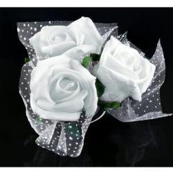 Ružičky na prísavke 4 ks - biele