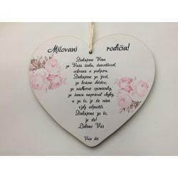 """Drevená tabuľka srdce """"Rodičom"""""""