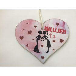 """Drevená tabuľka srdce """"Milujem Ťa"""""""