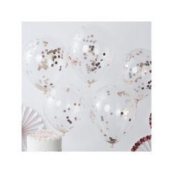 Plnené balóny s konfetami 5 ks - strieborné kruhy